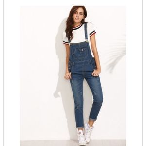 Denim - Dark Blue Straps Scratch Denim Overall Pants